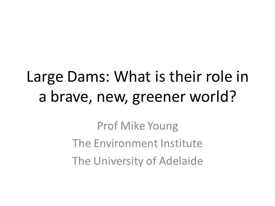 Large Dams: What is their role in a brave, new, greener world? Prof Mike Young The Environment Institute The University of Adelaide