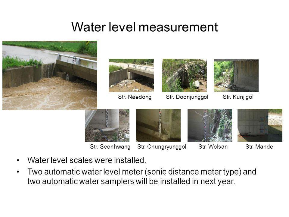 Water level measurement Water level scales were installed. Two automatic water level meter (sonic distance meter type) and two automatic water sampler