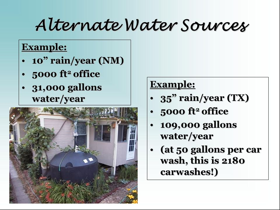 Alternate Water Sources Example: 10 rain/year (NM)10 rain/year (NM) 5000 ft 2 office5000 ft 2 office 31,000 gallons water/year31,000 gallons water/yea