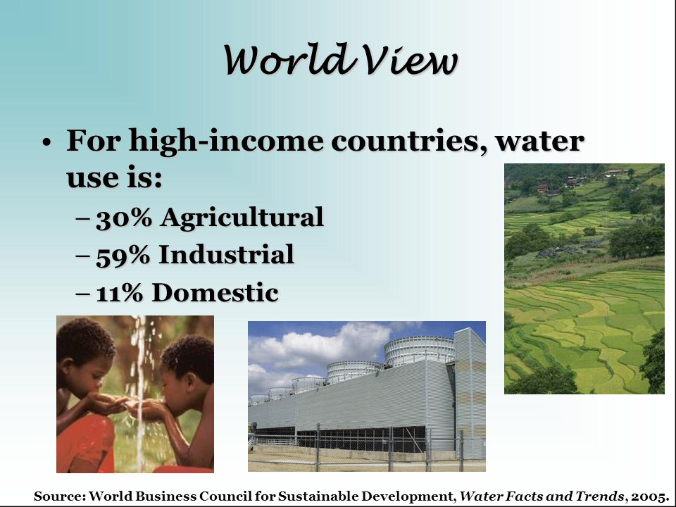 World View For high-income countries, water use is:For high-income countries, water use is: –30% Agricultural –59% Industrial –11% Domestic Source: Wo