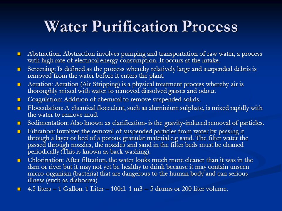 Water Purification Process Abstraction: Abstraction involves pumping and transportation of raw water, a process with high rate of electrical energy consumption.