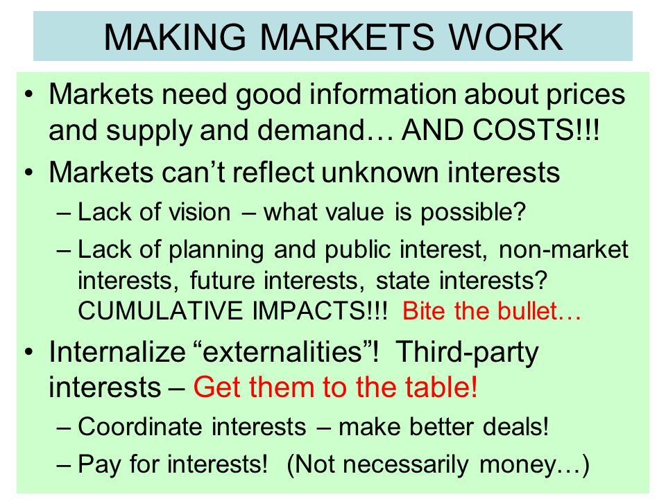MAKING MARKETS WORK Markets need good information about prices and supply and demand… AND COSTS!!.