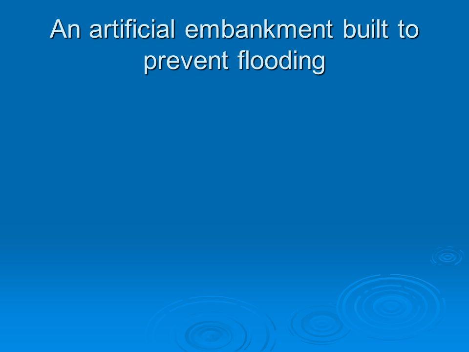 An artificial embankment built to prevent flooding
