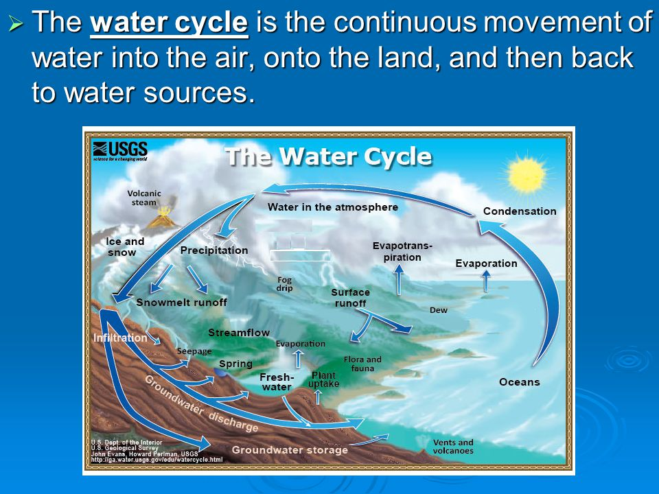 The water cycle is the continuous movement of water into the air, onto the land, and then back to water sources. The water cycle is the continuous mov