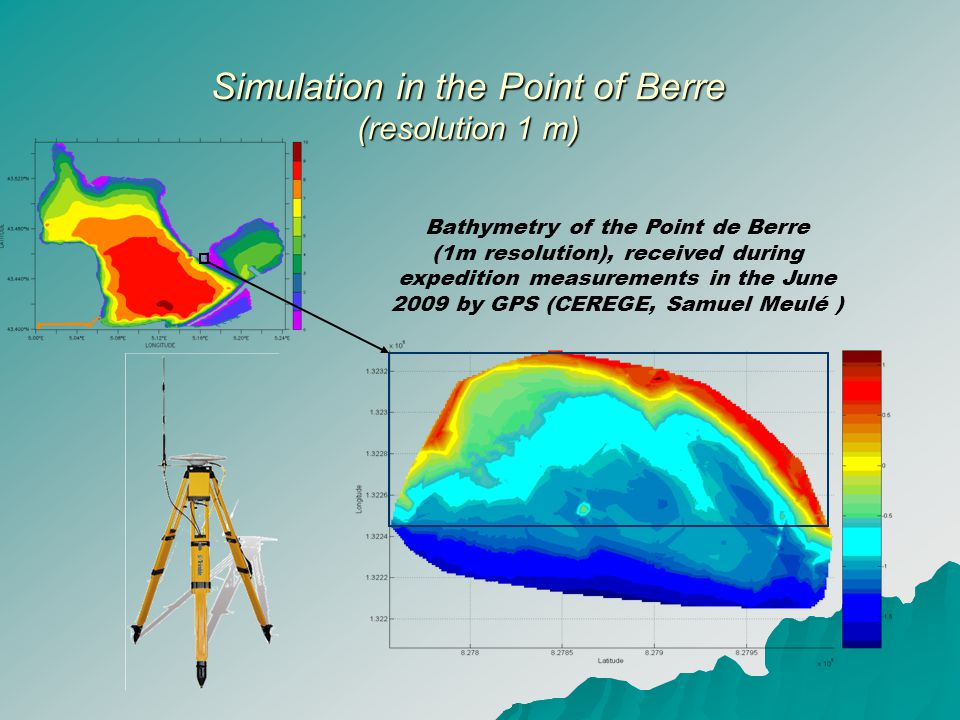 Simulation in the Point of Berre (resolution 1 m) Simulation in the Point of Berre (resolution 1 m) Bathymetry of the Point de Berre (1m resolution), received during expedition measurements in the June 2009 by GPS (CEREGE, Samuel Meulé )