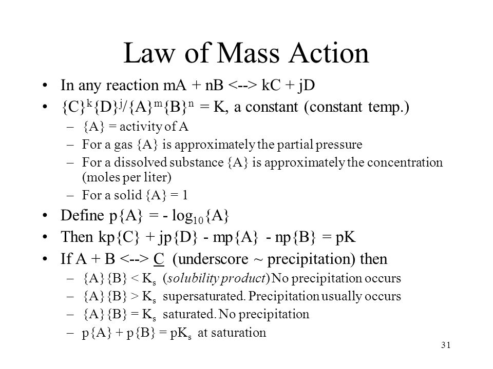 31 Law of Mass Action In any reaction mA + nB kC + jD {C} k {D} j /{A} m {B} n = K, a constant (constant temp.) –{A} = activity of A –For a gas {A} is
