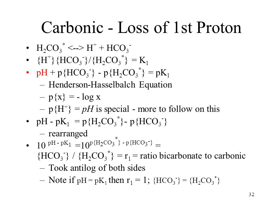 32 Carbonic - Loss of 1st Proton H 2 CO 3 * H + + HCO 3 - {H + }{HCO 3 - }/{H 2 CO 3 * } = K 1 pH + p{HCO 3 - } - p{H 2 CO 3 * } = pK 1 –Henderson-Has