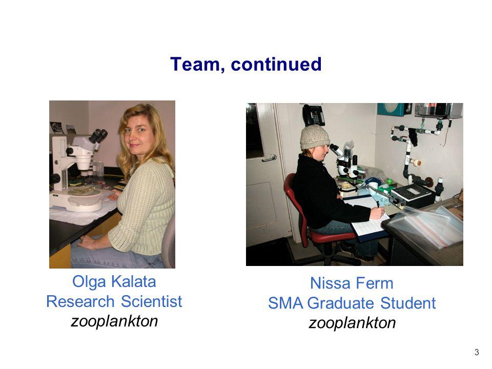 3 Team, continued Nissa Ferm SMA Graduate Student zooplankton Olga Kalata Research Scientist zooplankton