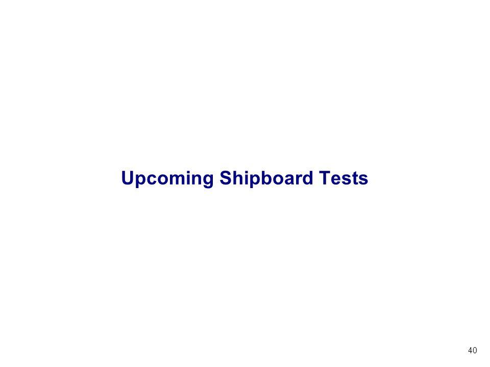 40 Upcoming Shipboard Tests
