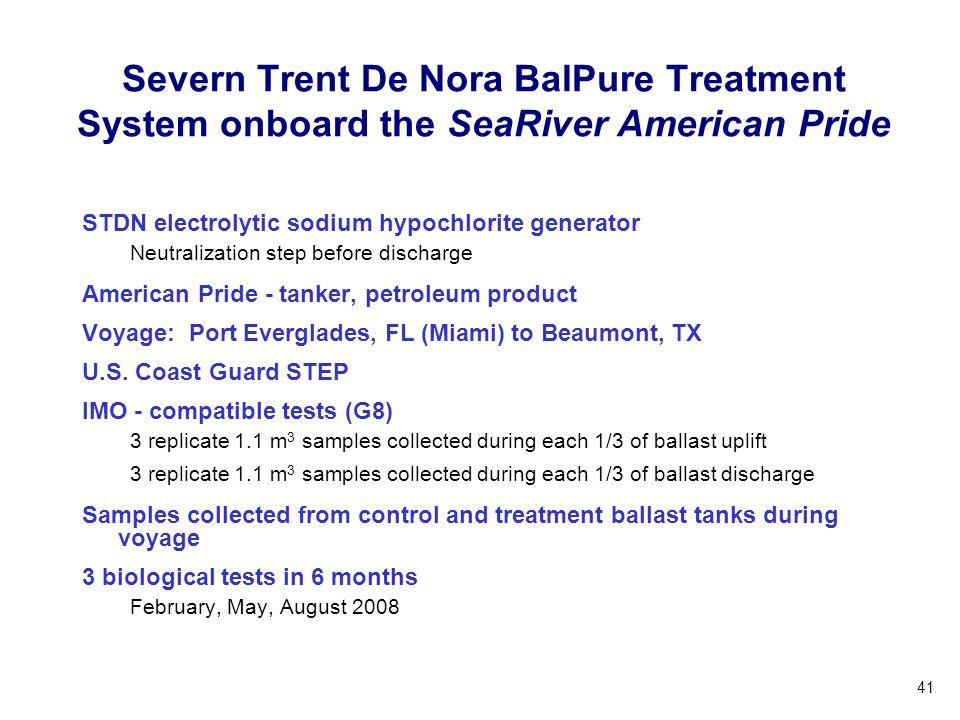 41 Severn Trent De Nora BalPure Treatment System onboard the SeaRiver American Pride STDN electrolytic sodium hypochlorite generator Neutralization st