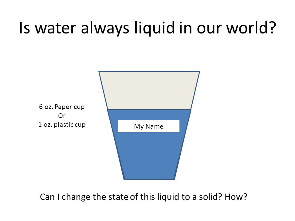 Is water always liquid in our world. My Name Can I change the state of this liquid to a solid.