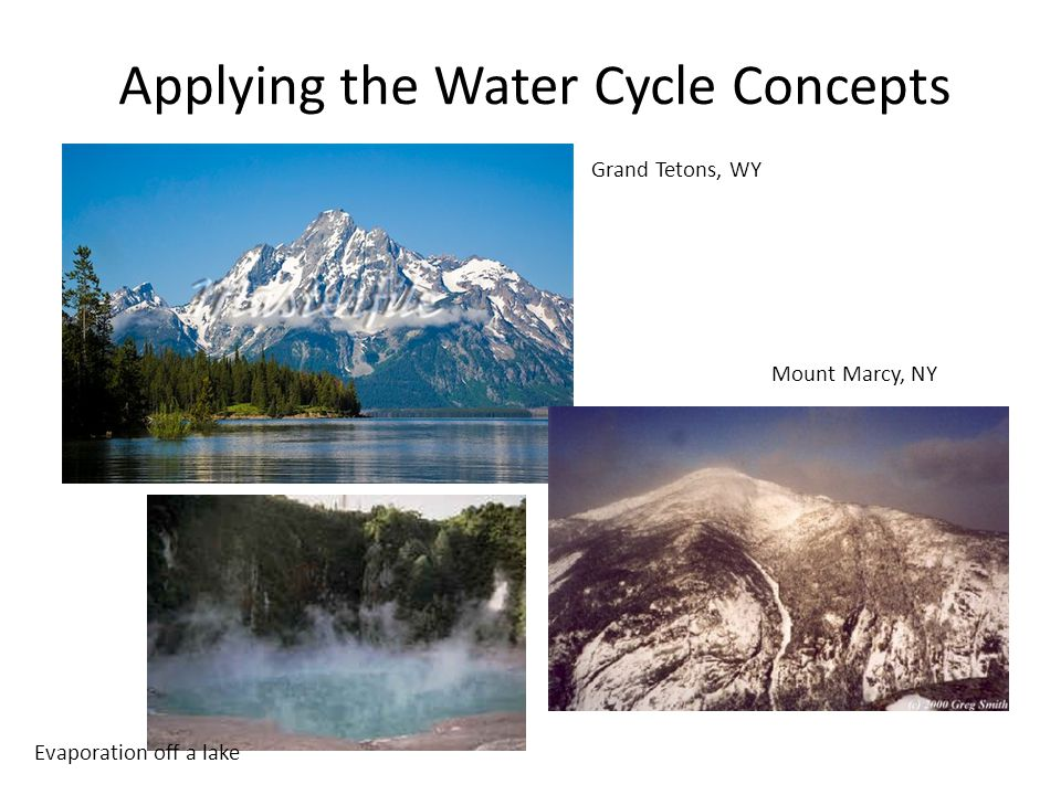 Applying the Water Cycle Concepts Grand Tetons, WY Mount Marcy, NY Evaporation off a lake