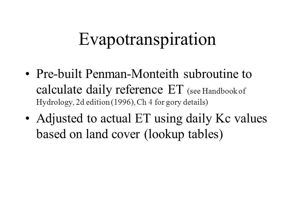 Evapotranspiration Pre-built Penman-Monteith subroutine to calculate daily reference ET (see Handbook of Hydrology, 2d edition (1996), Ch 4 for gory details) Adjusted to actual ET using daily Kc values based on land cover (lookup tables)