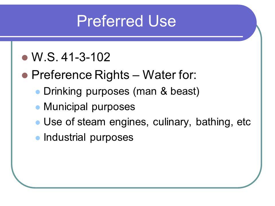Preferred Use W.S.