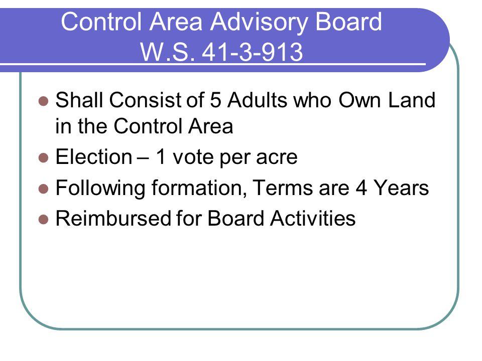 Control Area Advisory Board W.S.