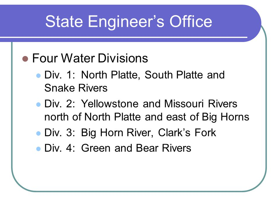 State Engineers Office Four Water Divisions Div.