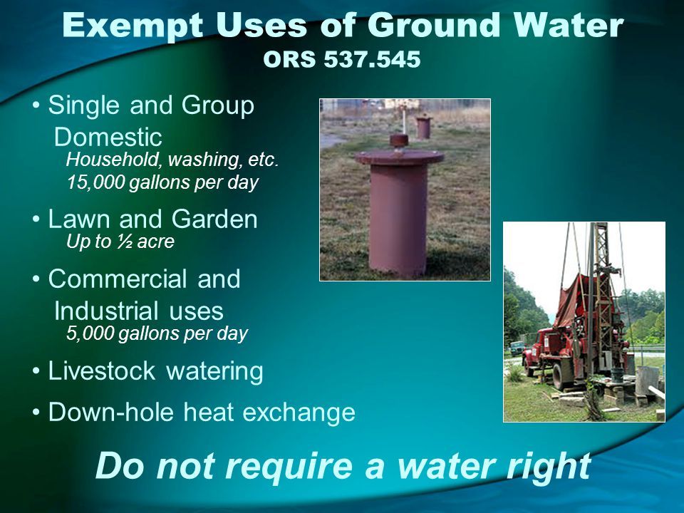 Exempt Uses of Ground Water ORS 537.545 Single and Group Domestic Household, washing, etc.