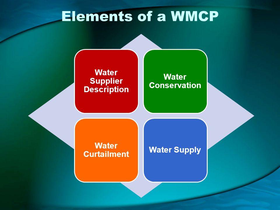 Elements of a WMCP Water Supplier Description Water Conservation Water Curtailment Water Supply