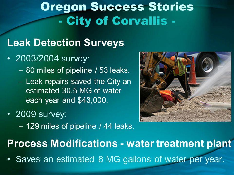 Oregon Success Stories - City of Corvallis - Leak Detection Surveys 2003/2004 survey: –80 miles of pipeline / 53 leaks.