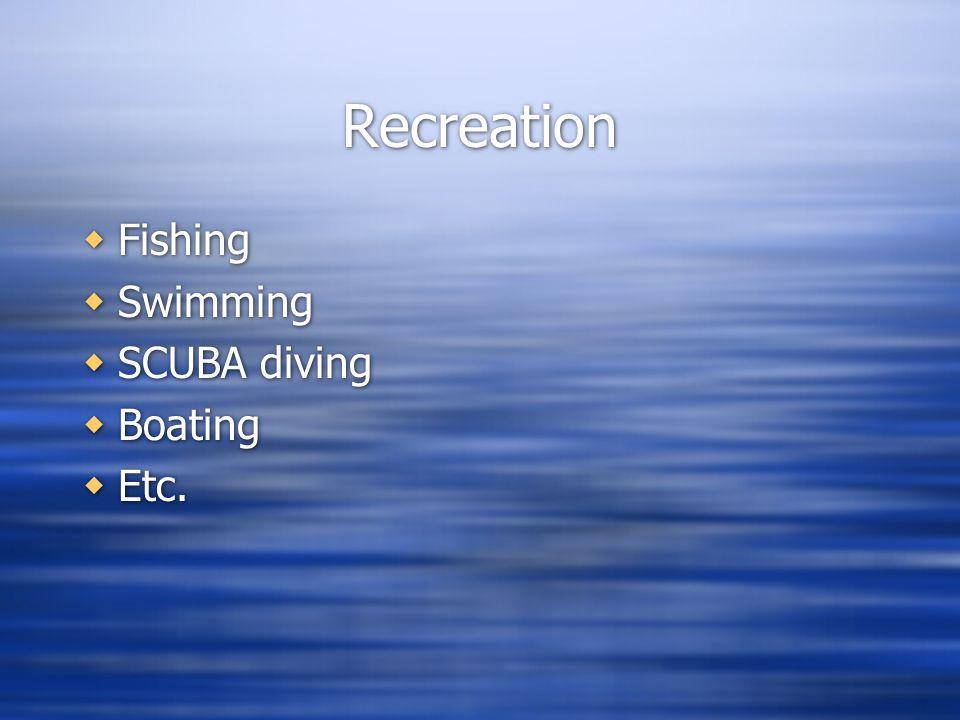 Recreation Fishing Swimming SCUBA diving Boating Etc. Fishing Swimming SCUBA diving Boating Etc.