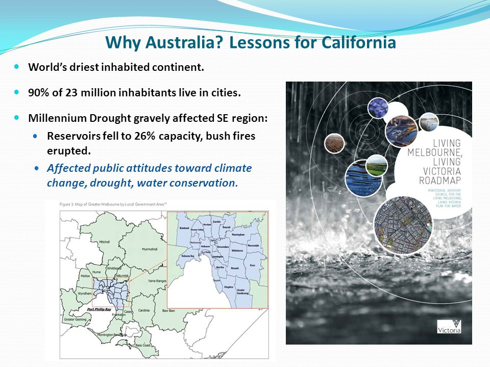 Why Australia? Lessons for California Worlds driest inhabited continent. 90% of 23 million inhabitants live in cities. Millennium Drought gravely affe
