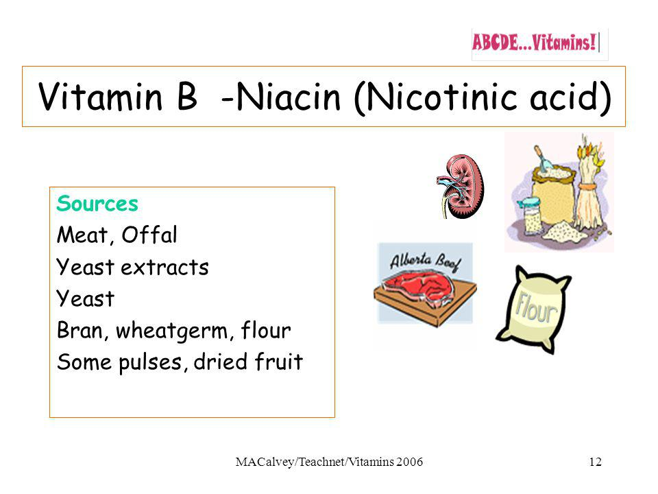 MACalvey/Teachnet/Vitamins 200612 Vitamin B -Niacin (Nicotinic acid) Sources Meat, Offal Yeast extracts Yeast Bran, wheatgerm, flour Some pulses, dried fruit