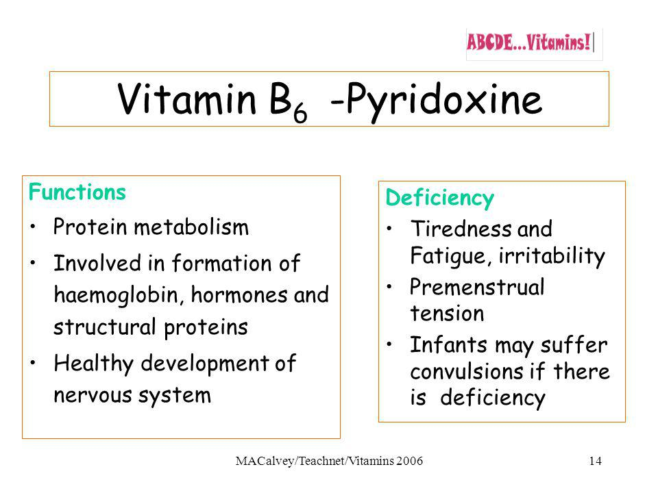 MACalvey/Teachnet/Vitamins 200614 Vitamin B 6 -Pyridoxine Functions Protein metabolism Involved in formation of haemoglobin, hormones and structural proteins Healthy development of nervous system Deficiency Tiredness and Fatigue, irritability Premenstrual tension Infants may suffer convulsions if there is deficiency