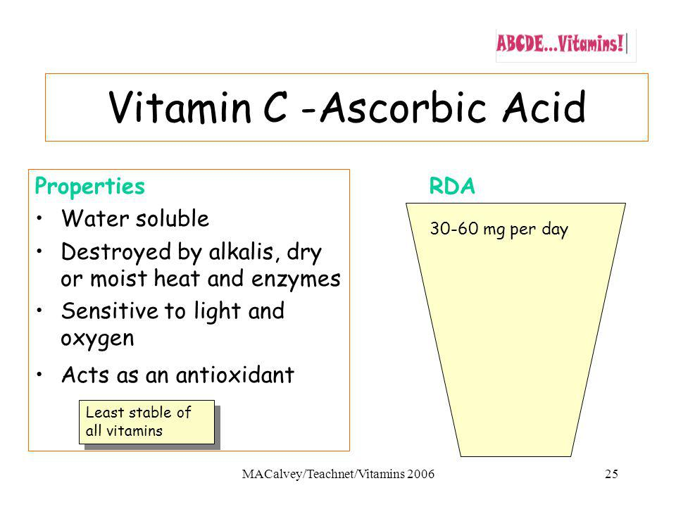 MACalvey/Teachnet/Vitamins 200625 Properties Water soluble Destroyed by alkalis, dry or moist heat and enzymes Sensitive to light and oxygen Acts as an antioxidant RDA 30-60 mg per day Vitamin C -Ascorbic Acid Least stable of all vitamins