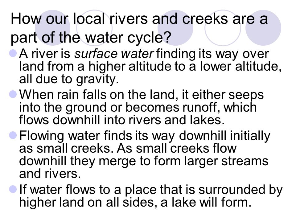 How our local rivers and creeks are a part of the water cycle.