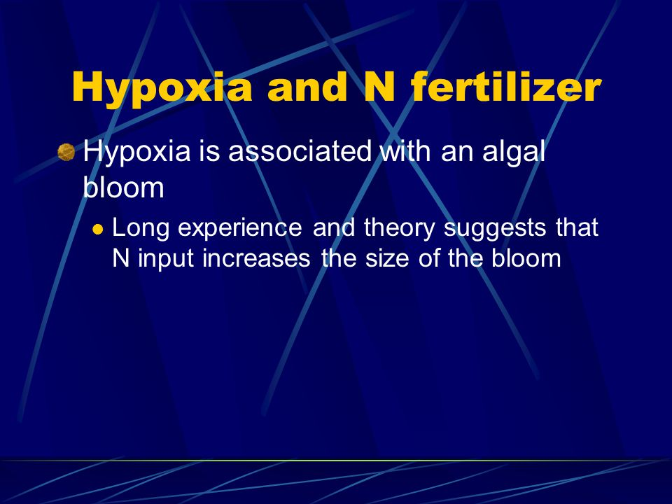 Hypoxia and N fertilizer Hypoxia is associated with an algal bloom Long experience and theory suggests that N input increases the size of the bloom