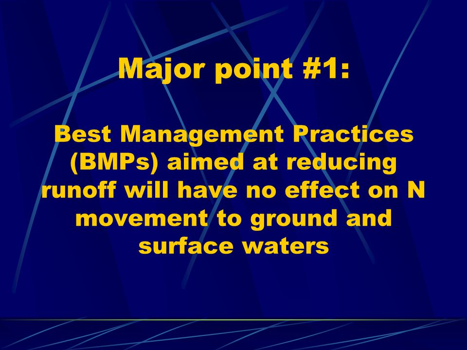 Major point #1: Best Management Practices (BMPs) aimed at reducing runoff will have no effect on N movement to ground and surface waters