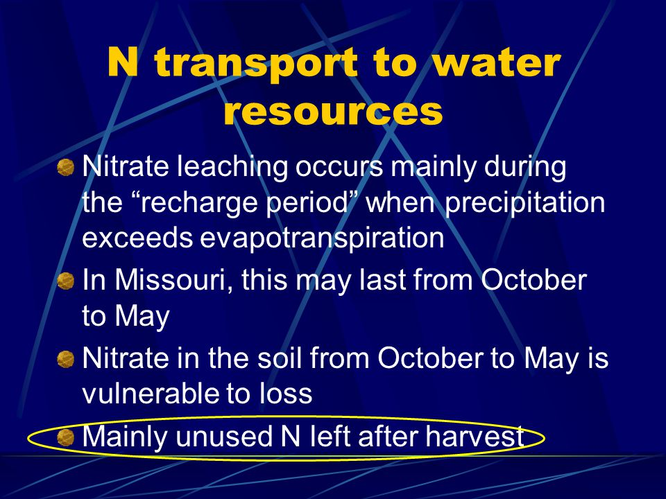 N transport to water resources Nitrate leaching occurs mainly during the recharge period when precipitation exceeds evapotranspiration In Missouri, this may last from October to May Nitrate in the soil from October to May is vulnerable to loss Mainly unused N left after harvest