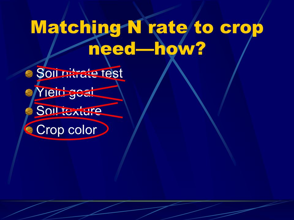 Matching N rate to crop needhow Soil nitrate test Yield goal Soil texture Crop color
