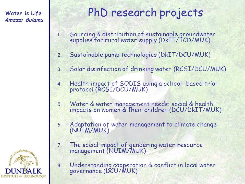 Water is Life Amazzi Bulamu PhD research projects 1.