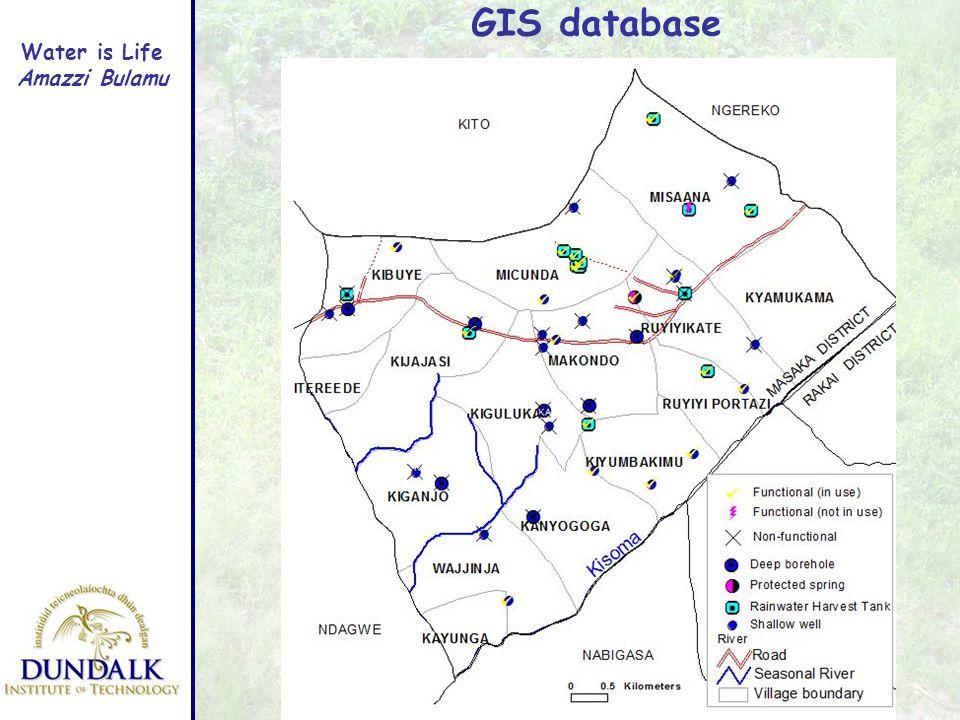 Water is Life Amazzi Bulamu GIS database