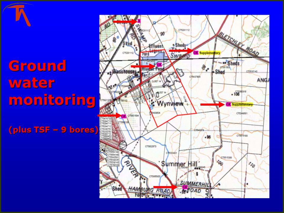 Ground water monitoring (plus TSF – 9 bores)