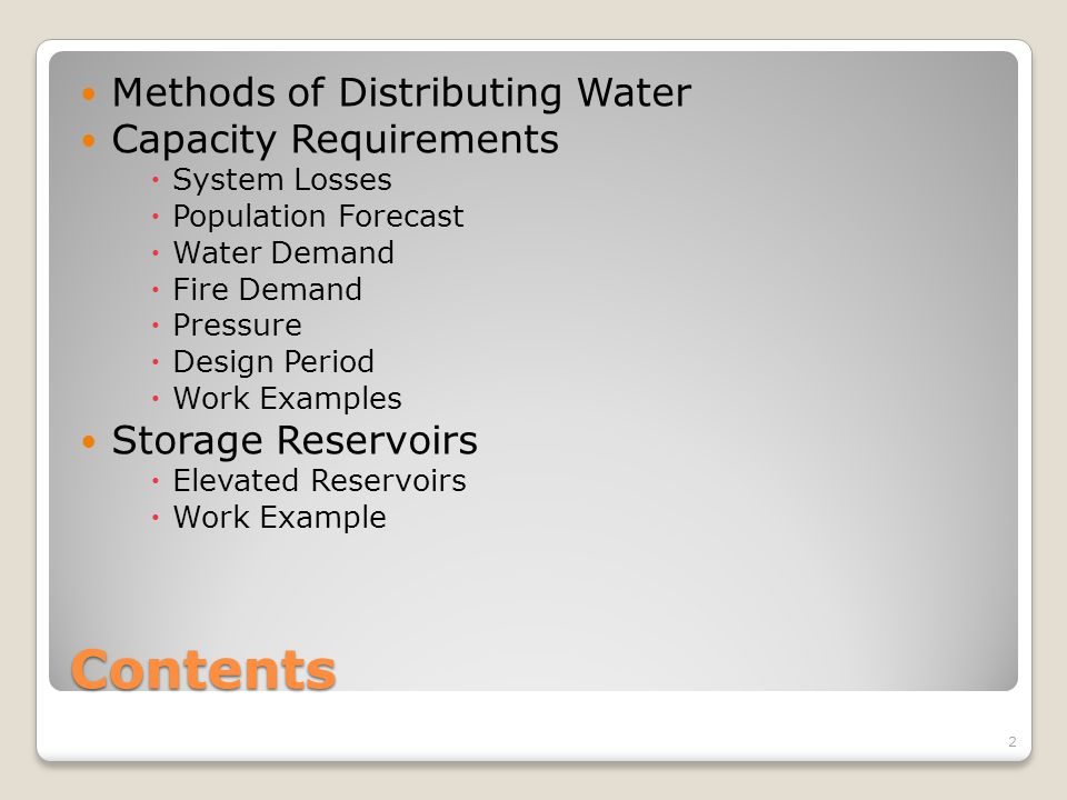 Design Period-Drinking Water Systems 13 (1)Allow for expansion
