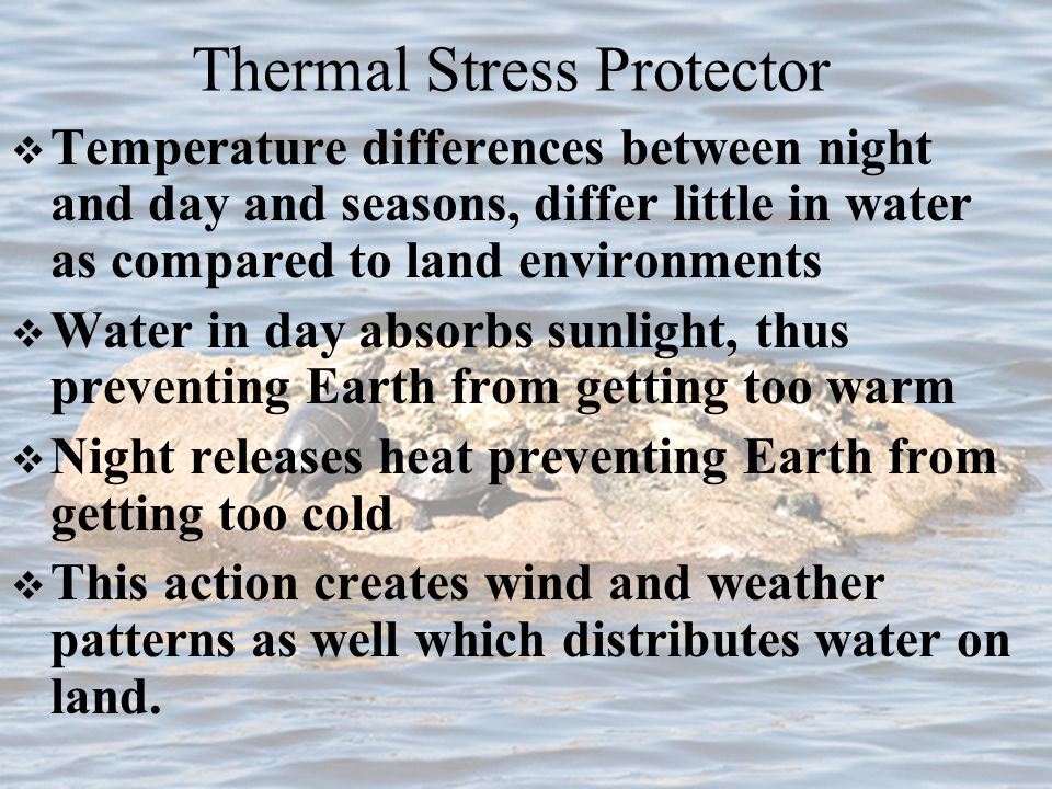 4 Main Benefits of water on Earth Thermal Stress Protector UV Protection Food /Nutrient Supplier Protection from gravity