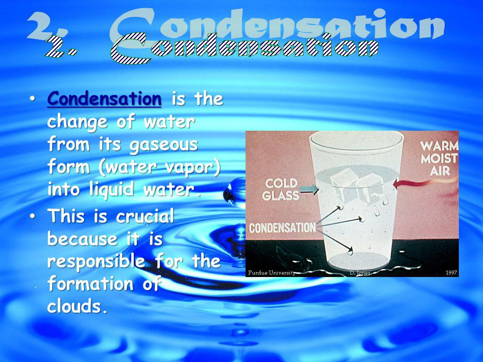 Condensation is the change of water from its gaseous form (water vapor) into liquid water.