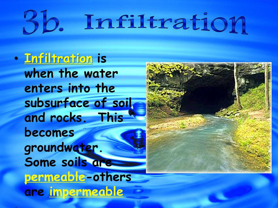 Infiltration Infiltration is when the water enters into the subsurface of soil and rocks.
