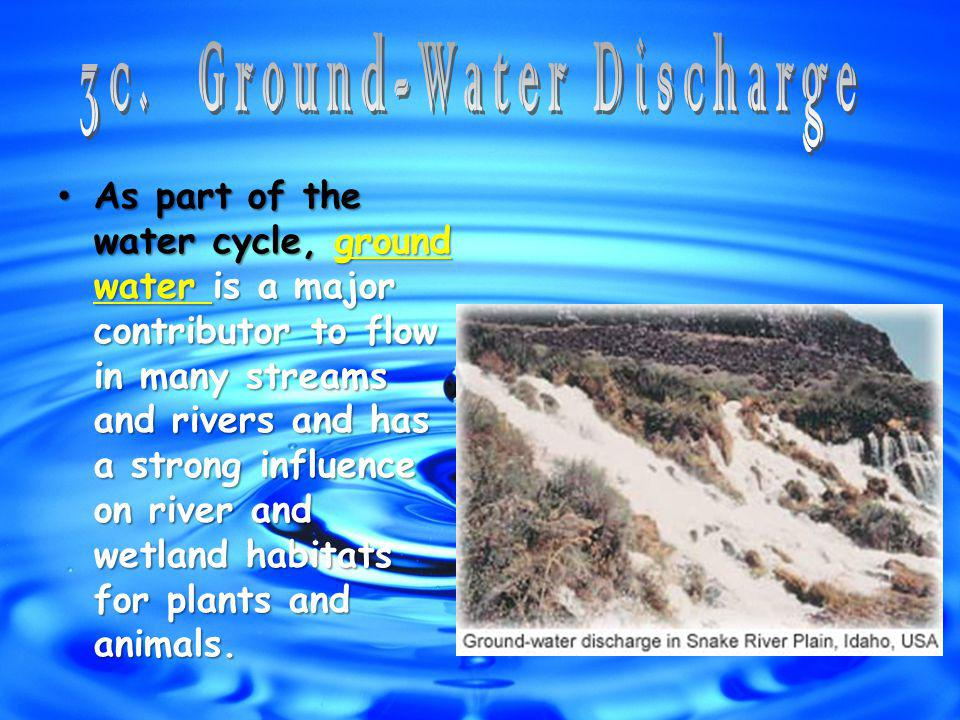 As part of the water cycle, ground water is a major contributor to flow in many streams and rivers and has a strong influence on river and wetland habitats for plants and animals.