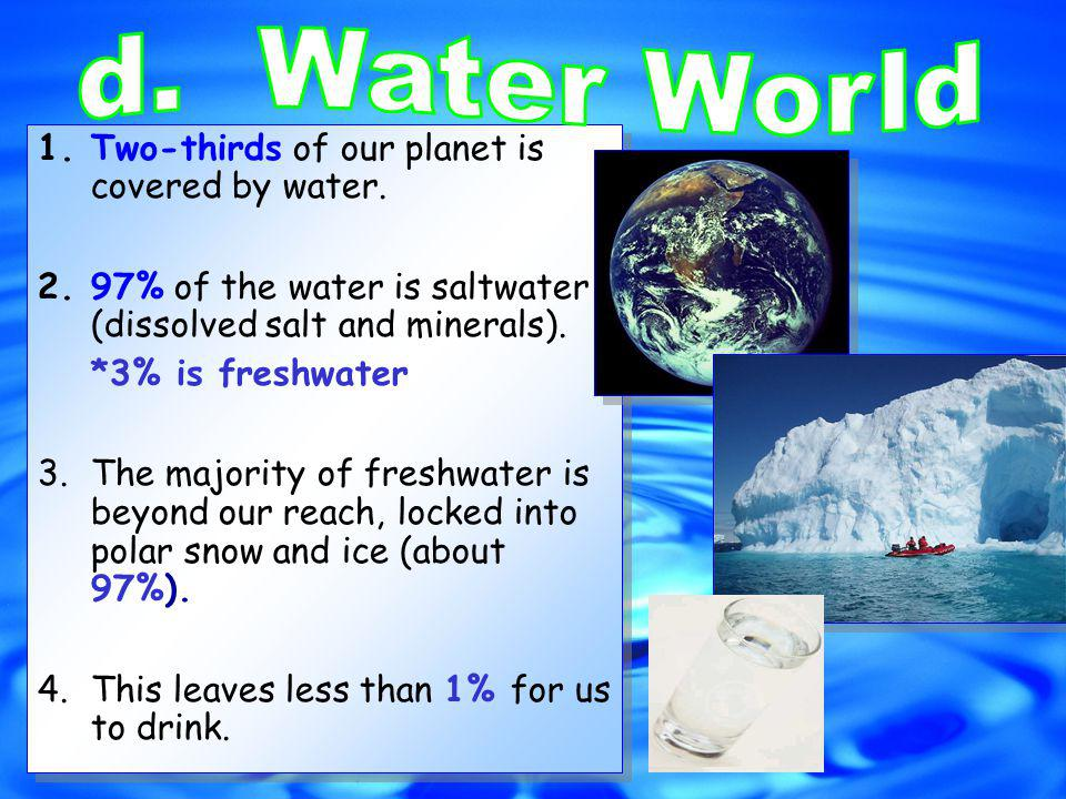 1.Two-thirds of our planet is covered by water.