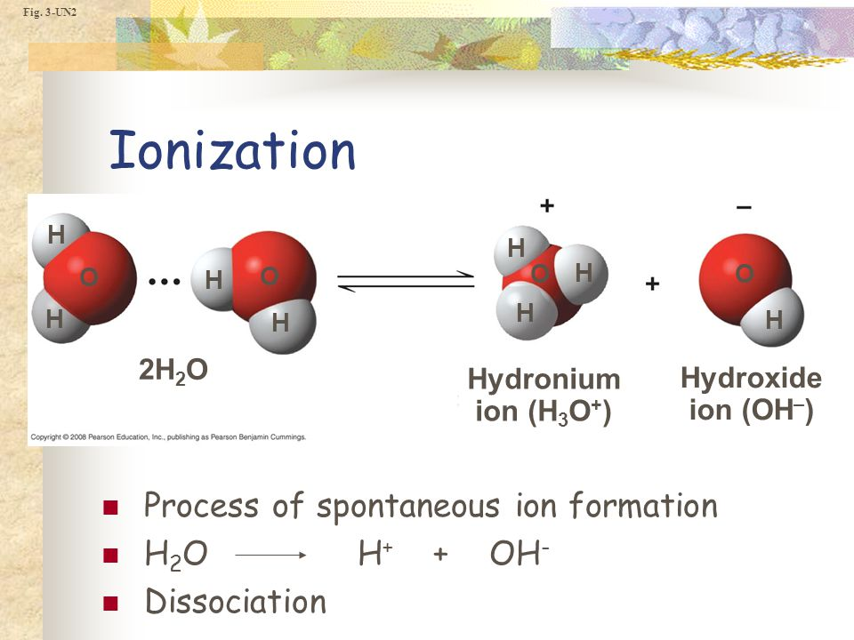 Fig. 3-UN2 Hydronium ion (H 3 O + ) Hydroxide ion (OH – ) 2H 2 O H H H H H H H H O O O O Ionization Process of spontaneous ion formation H 2 OH + + OH