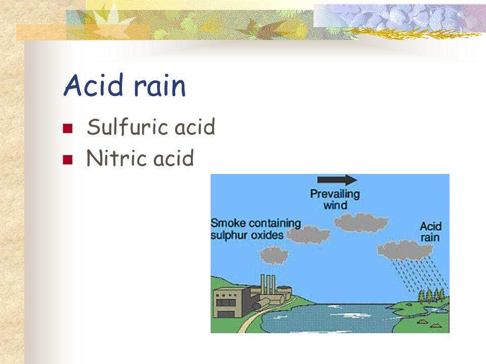 Acid rain Sulfuric acid Nitric acid