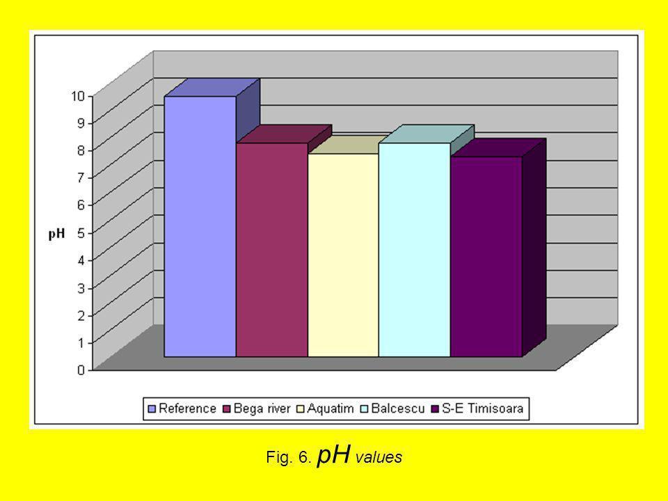 Fig. 6. pH values