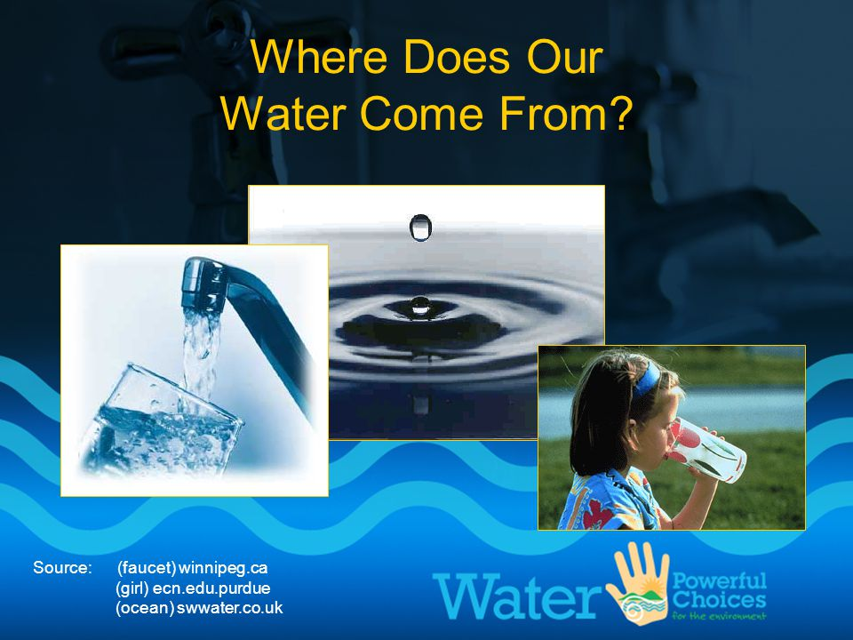 Source: (faucet) winnipeg.ca (girl) ecn.edu.purdue (ocean) swwater.co.uk Where Does Our Water Come From