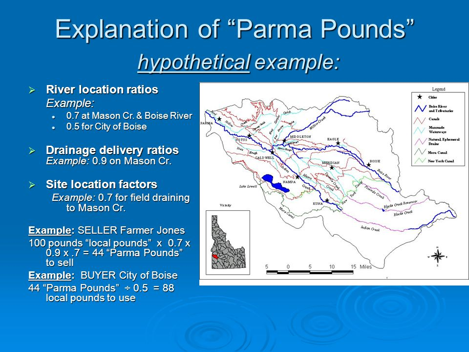 Explanation of Parma Pounds hypothetical example: River location ratios River location ratiosExample: 0.7 at Mason Cr.