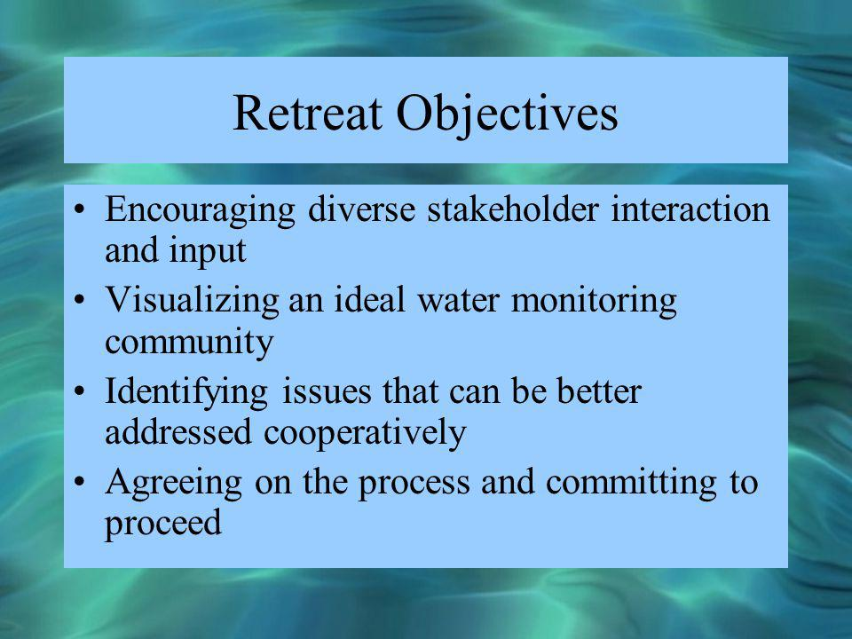 Retreat Objectives Encouraging diverse stakeholder interaction and input Visualizing an ideal water monitoring community Identifying issues that can b
