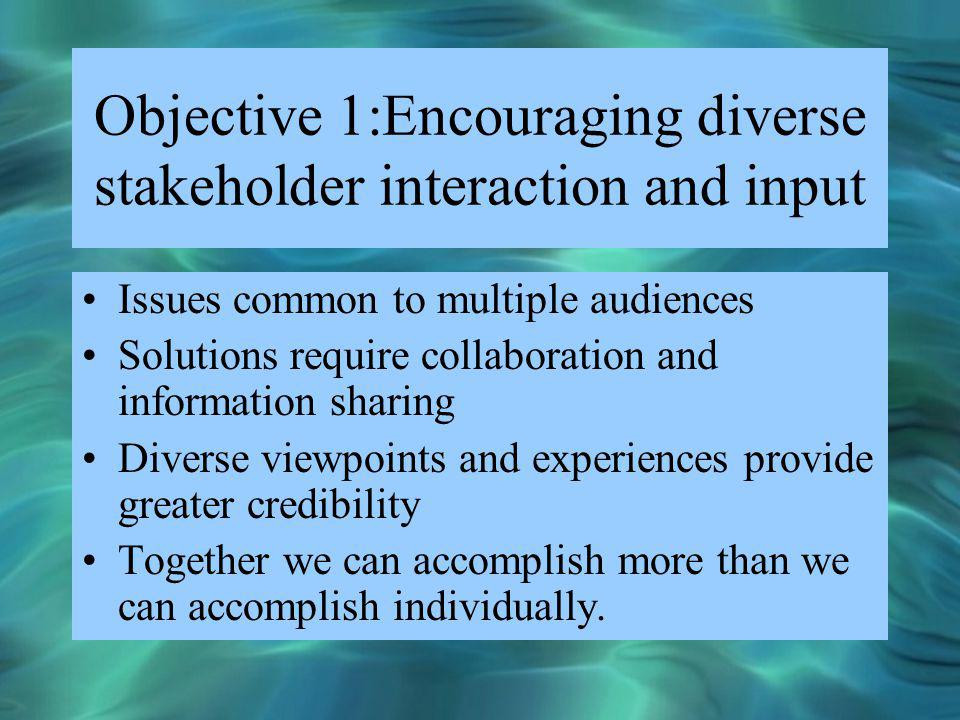 Objective 1:Encouraging diverse stakeholder interaction and input Issues common to multiple audiences Solutions require collaboration and information