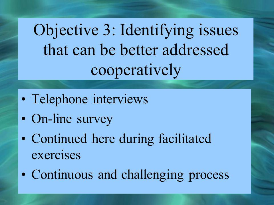 Objective 3: Identifying issues that can be better addressed cooperatively Telephone interviews On-line survey Continued here during facilitated exerc
